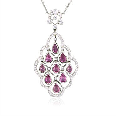 thumbnail image of Tiffany & Co Platinum Diamond Pink Sapphire Diamond Pendant Necklace