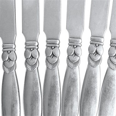 thumbnail image of Estate Georg Jensen Cactus Pattern Sterling Butter Knife Set 12pc