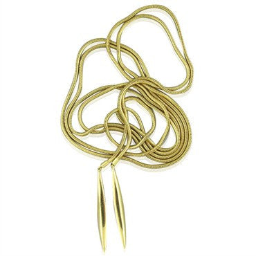 thumbnail image of Estate Tiffany & Co Feathers 18K Yellow Gold Lariat Necklace