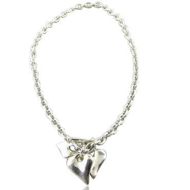 image of Robert Lee Morris Sterling Silver Heart Charm Necklace