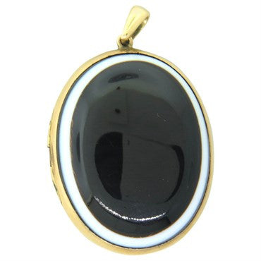 image of Victorian Banded Agate 14K Gold Locket Pendant