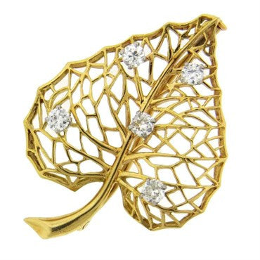 image of Cartier Diamond Gold Leaf Brooch Pin