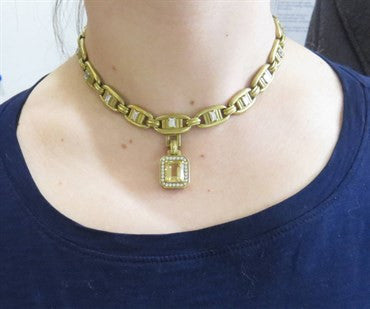 image of Kieselstein Cord Massive Citrine 5.00ctw Diamond 18k Gold Necklace