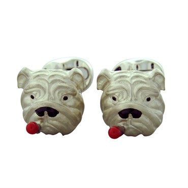 image of New Deakin & Francis Enamel Sterling Bulldog with Cigar Cufflinks