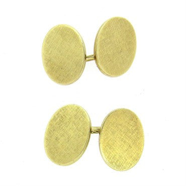 image of Mid Century Cartier 14k Gold Oval Cufflinks