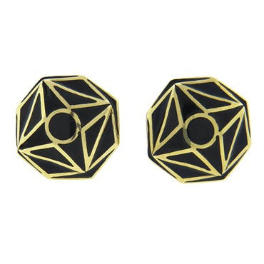 image of David Webb Black Enamel Gold Cufflinks