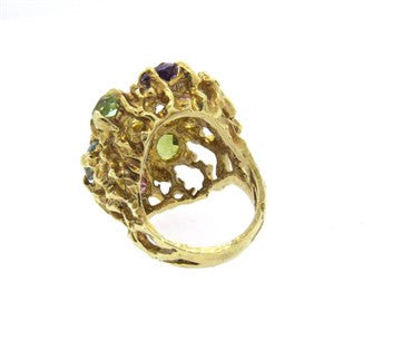 image of 1970s Large Multicolor Gemstone 14k Gold Free Form Ring
