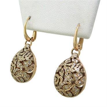 image of New Pomellato Arabesque 18k Gold Diamond Drop Earrings