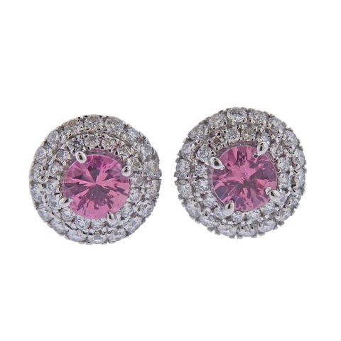image of 18k Gold Pink Sapphire Diamond Stud Earrings