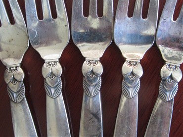 thumbnail image of Estate Georg Jensen Cactus Pattern Sterling Pastry Fork Set 5pc