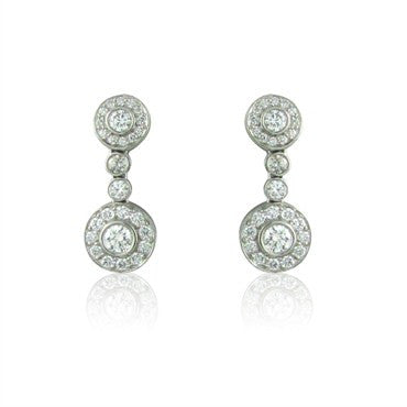 image of Tiffany & Co Circlet Platinum Diamond Drop Earrings