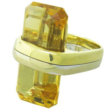 image of Large Citrine 18K Gold Ring