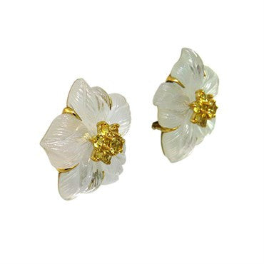 thumbnail image of Seaman Schepps Clematis Rock Crystal Sapphire 18K Gold Earrings