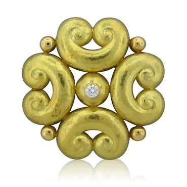 image of De Vroomen 18K Yellow Gold Diamond Brooch Pin