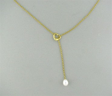 image of Tiffany & Co Peretti Open Heart Lariat Necklace