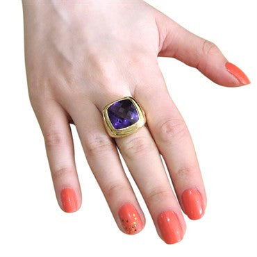 thumbnail image of David Yurman Albion Amethyst 18K Gold Ring