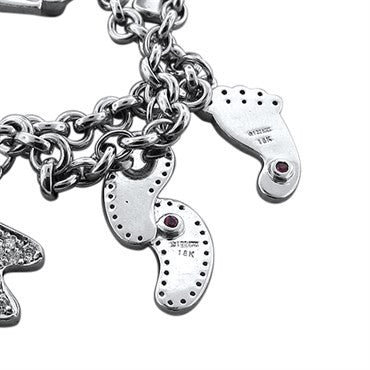thumbnail image of Roberto Coin 18K White Gold 1.02ctw Diamond Charm Bracelet