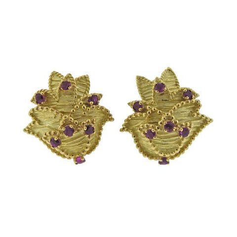 image of 1960s Tiffany & Co Gold Ruby Earrings