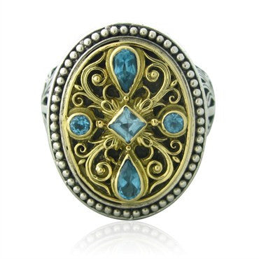 image of Konstantino Sterling Silver 18K Yellow Gold Blue Topaz Large Ring