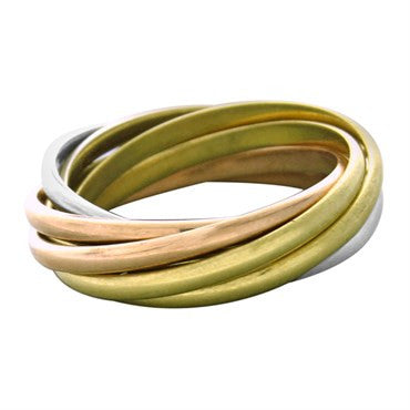 Cartier Trinity 18k Tri Color Gold Seven Rolling Band Ring Size 49