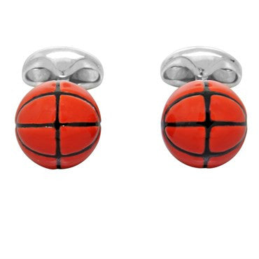 image of Deakin & Francis Sterling SIlver Enamel Basketball Cufflinks