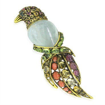 image of Estate Iradj Moini Colored Stone Bird Brooch