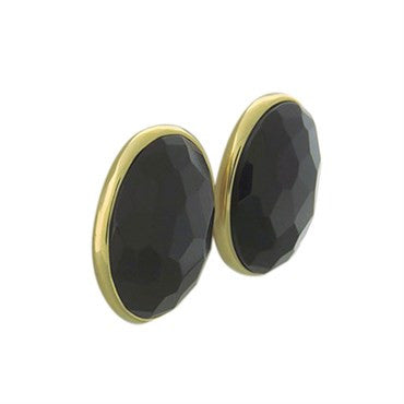 image of New Pomellato Victoria 18k Gold Faceted Jet Earrings