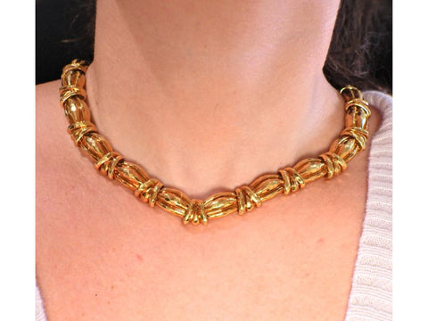 image of Henry Dunay Hammered Gold Necklace