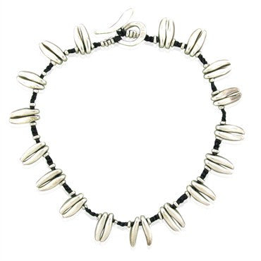 image of Estate Jill Platner Sterling Silver Leather Cord Necklace