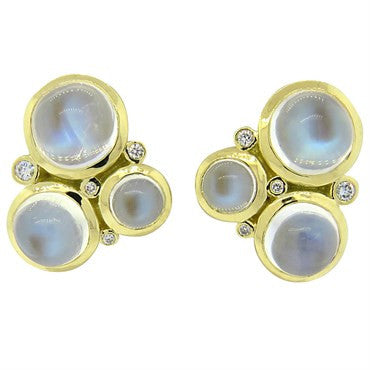 thumbnail image of Temple St. Clair Trio Moonstone Diamond 18k Gold Earrings
