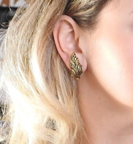 image of Buccellati Leaf Motif 18k Gold Earrings