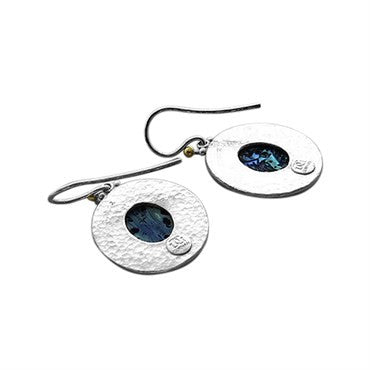 thumbnail image of Gurhan Sterling Silver 24k Gold Paua Shell Drop Earrings