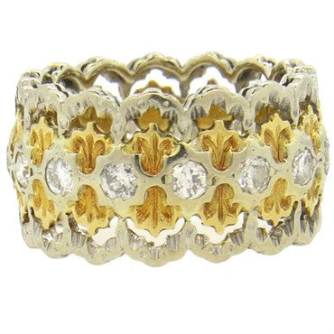 thumbnail image of Buccellati Diamond Gold Wide Band Ring