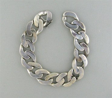 image of Modernist Joachim S'paliu Spain Sterling Silver Large Chain Bracelet