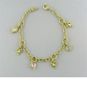 image of Judith Ripka 18k Gold Diamond Charm Bracelet