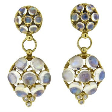 Temple St. Clair Moonstone Diamond Gold Drop Earrings
