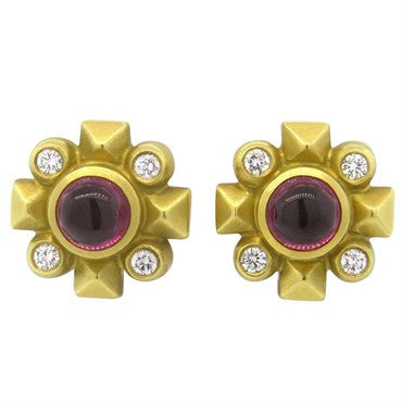 image of Kieselstein Cord Cabochon Tourmaline Diamond 18K Gold Earrings