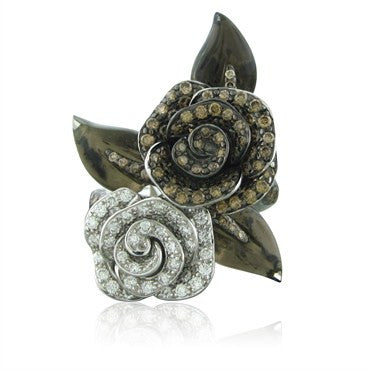 image of New Asprey 18K White Gold Brown Diamond Quartz Diamond Flower Ring