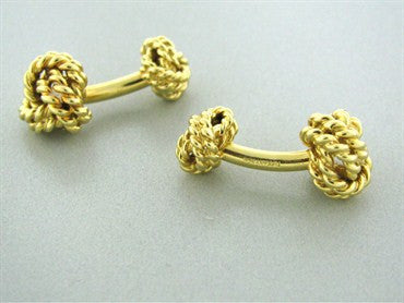thumbnail image of Estate Tiffany & Co 18k Yellow Gold Knot Cufflinks