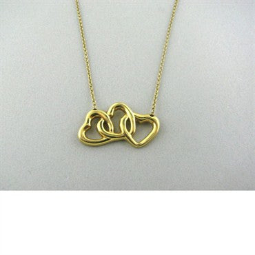 image of Tiffany & Co 18k Gold Three Heart Pendant Necklace