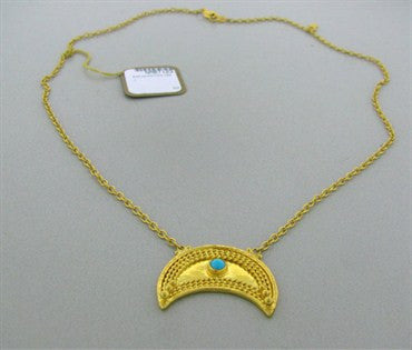 thumbnail image of New Gurhan 24k Gold Crescent Turquoise Pendant Necklace