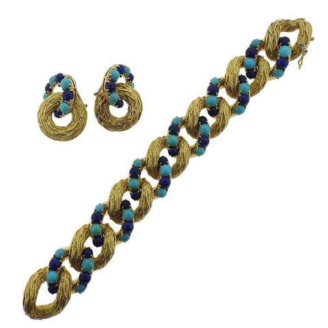 1960s Pomellato Gold Turquoise Lapis Bracelet Earrings Suite