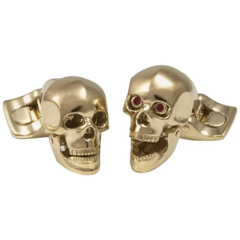 image of Deakin & Francis Gold Plated Skull Cufflinks