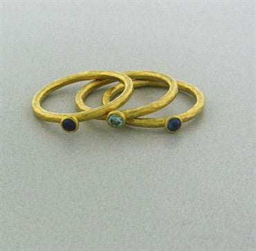 thumbnail image of Gurhan 24K Yellow Gold Sapphire Aquamarine Three Band Ring Set