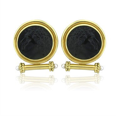 thumbnail image of Elizabeth Locke 18K Yellow Gold Carved Onyx Pearl Earrings
