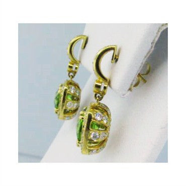 thumbnail image of New Krypell 18K Gold 2.65ct Diamond Peridot Earrings