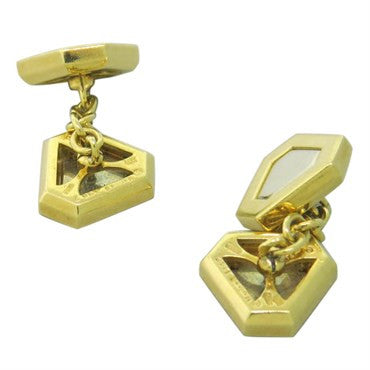 thumbnail image of Classic Triangles Marina B 18k Gold Cufflinks