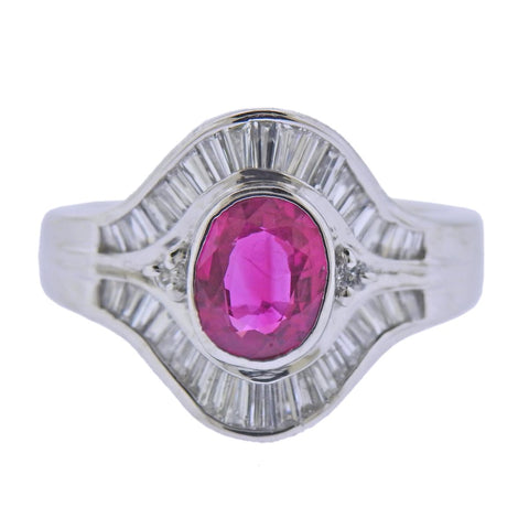 image of Platinum 1.34ct Ruby Diamond Cocktail Ring