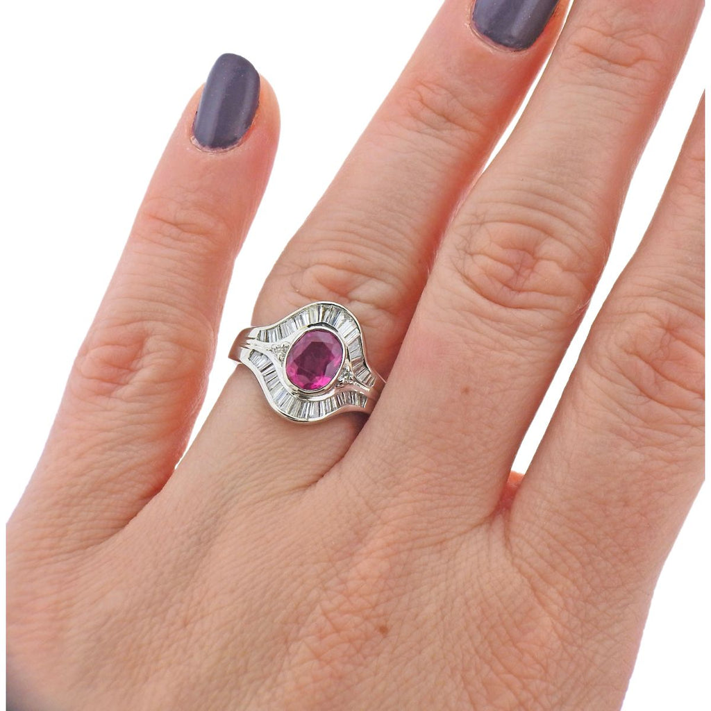 thumbnail image of Platinum 1.34ct Ruby Diamond Cocktail Ring