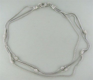 image of Judith Ripka Sterling Silver CZ 3 Strand Necklace
